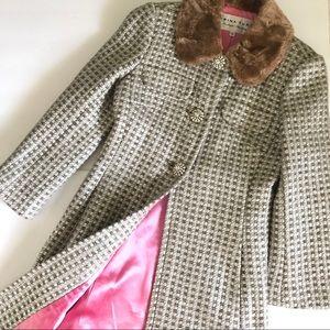 Trina Turk Silver Tweed Fur Collar Rhinestone Coat